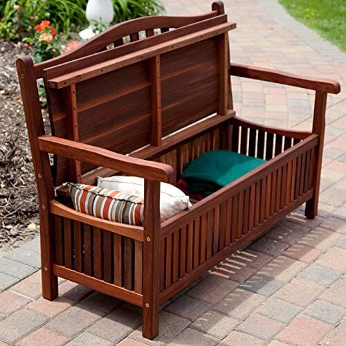 Belham Living Richmond 51 in. Curved-Back Outdoor Wood Storage Bench - Belham Living Richmond 51 In. Curved-Back Outdoor Wood Storage Bench
