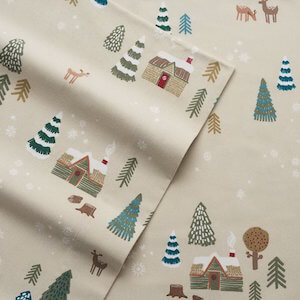 Cuddl Duds Queen Flannel Sheet with Deep Pockets, 4-Pieces - Lodge Scene