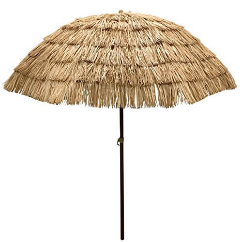 Image of: Beach Umbrella To Easygo 65 Ft Thatch Patio Tiki Umbrella u2022 Insteading