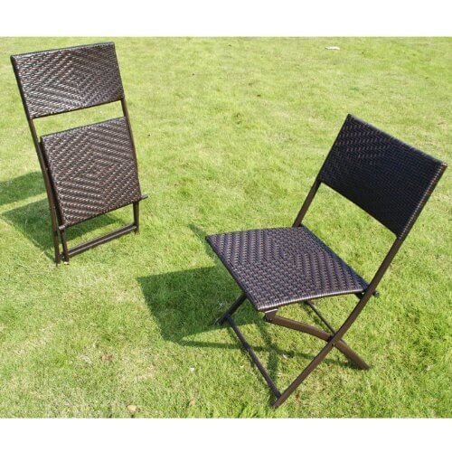 H Amp L Patio Resin Rattan Steel Folding Bistro Set Insteading