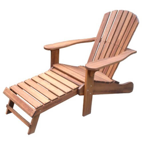 Outdoor interiors cd3111 eucalyptus adirondack chair and built in ottoman insteading for Outdoor interiors eucalyptus rocking chair
