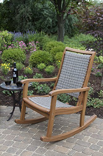 Outdoor Interiors Resin Wicker and Eucalyptus Rocking Chair • Insteading