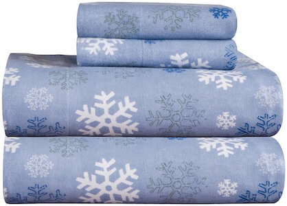 Pointehaven Heavy Weight Printed Flannel 100-Percent Cotton Sheet Set, Snow Flakes