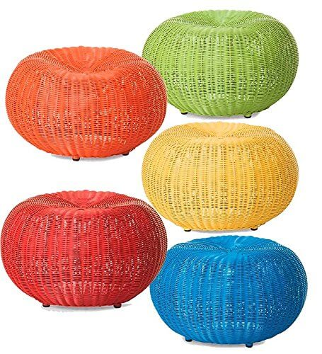 Plow And Hearth Small Outdoor Wicker Ottoman Pouf Insteading