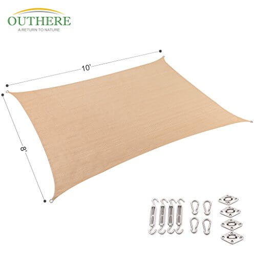 Outthere 8 Ft X 10 Ft Rectangle Sun Shade Sail Insteading