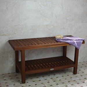 AquaTeak - The Original Grate 36 in. Teak Shower Bench with Shelf ...
