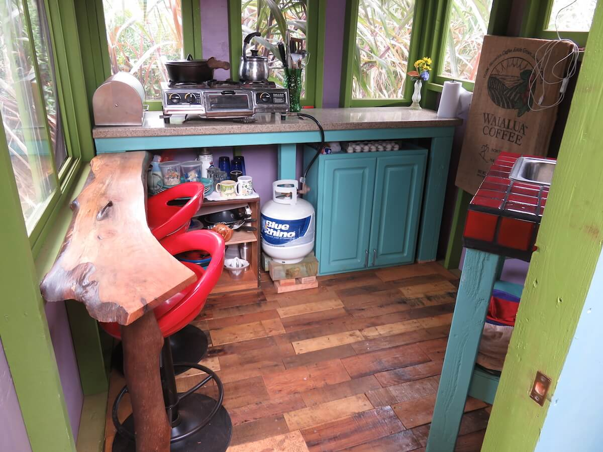 the kitchen of an earthbag dome
