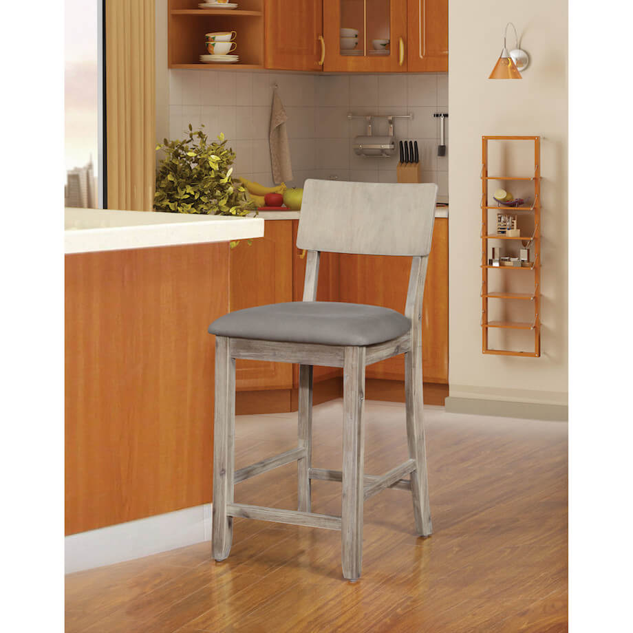 Gray Wood Kitchen Stool