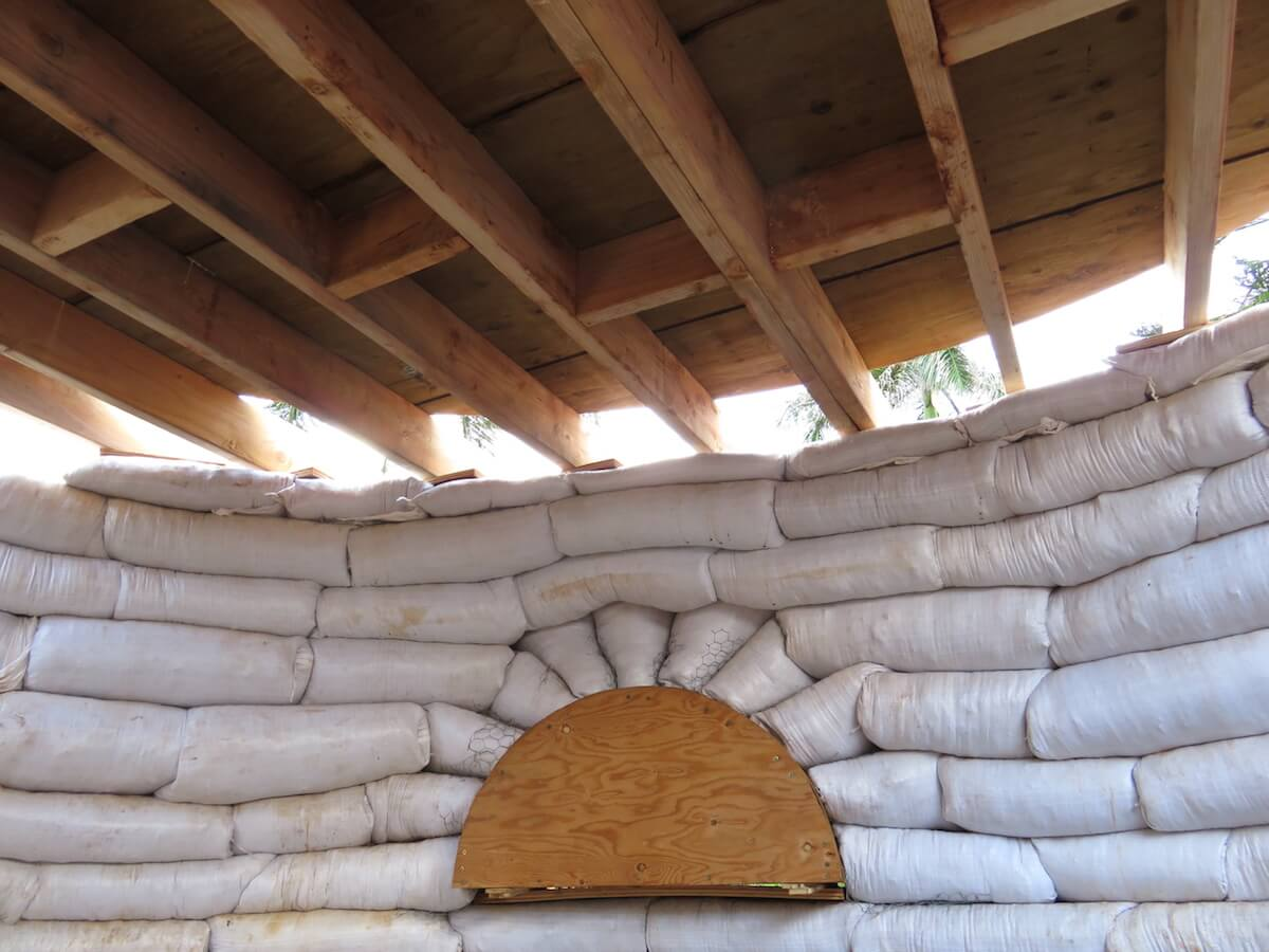 loft installed in earthbag dome