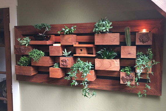 Mahogany Wall Planter