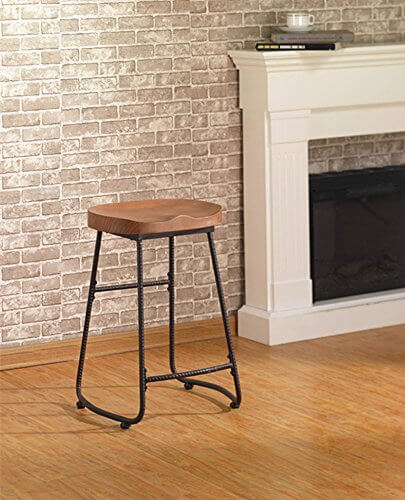 Metal and Wood Island Stool