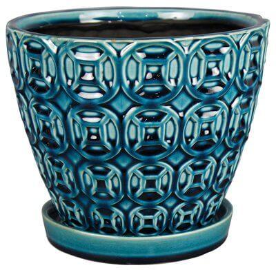 Modern Blue Ceramic Planter