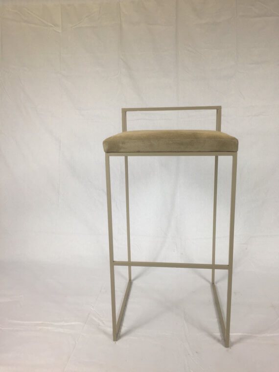 Modern Metal and Leather Stool