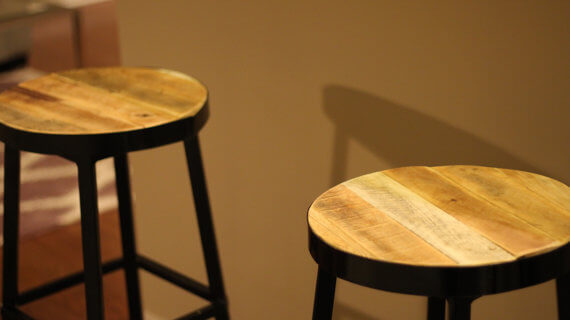Steel Bar Stools with Reclaimed Top