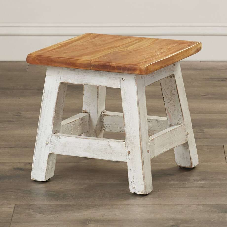 White, Rustic Kids Stool