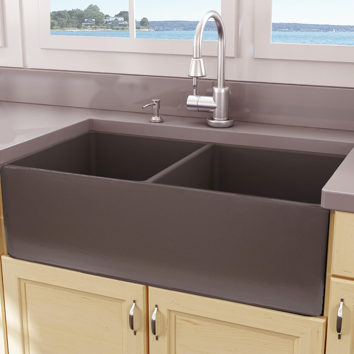 Brown Fireclay Farm Sink