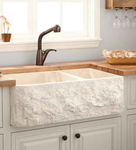 Chiseled Marble Farm Sink