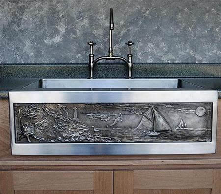 stainless steel and white bronze farmhouse sink