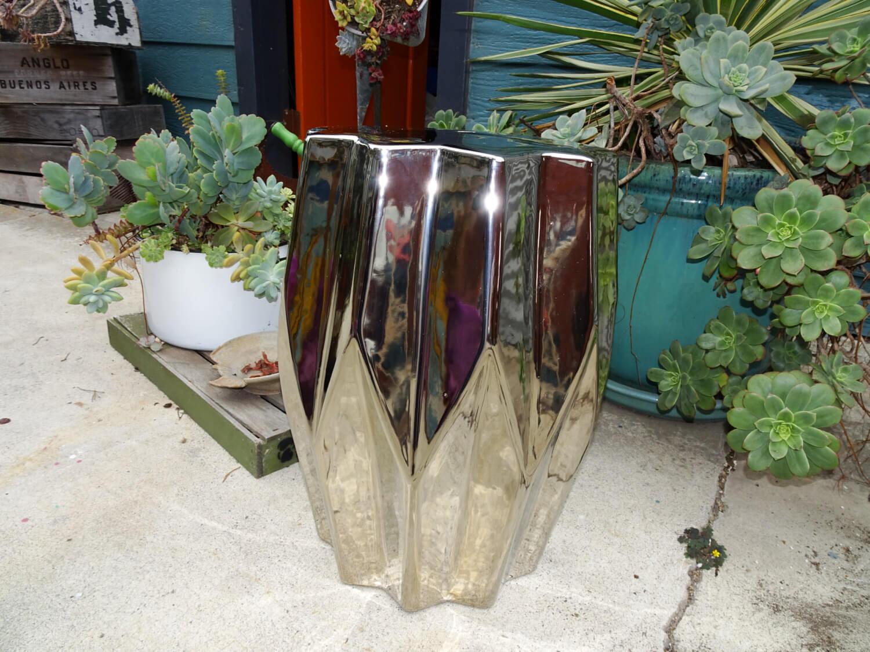 Metallic Silver Garden Stool