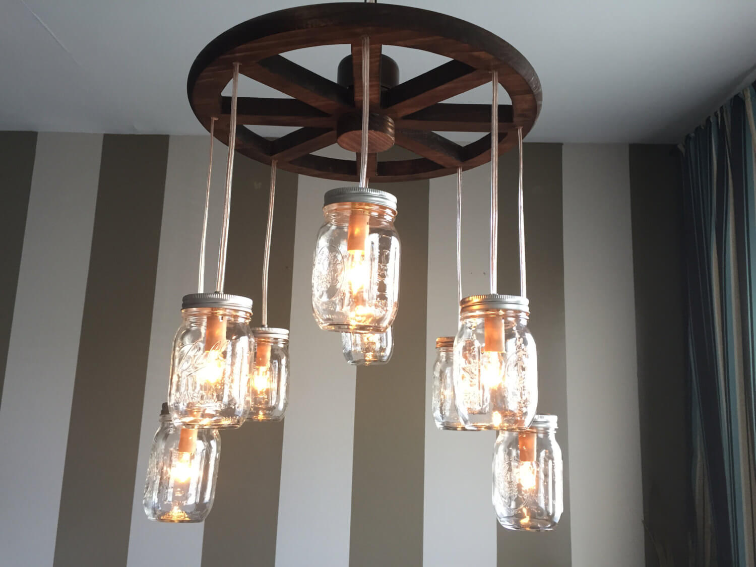 Wagon Wheel and Mason Jar Chandelier