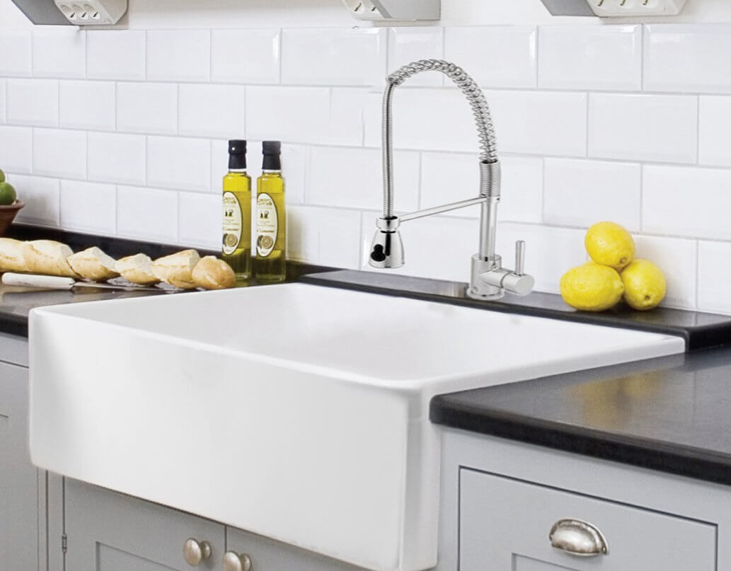 White Fireclay Farmhouse Sink