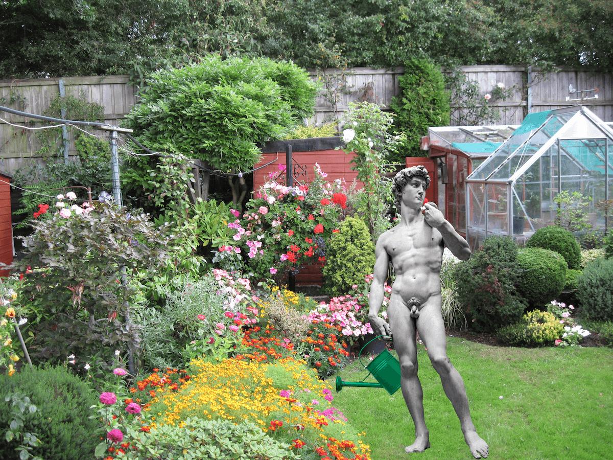 king david world naked gardening day