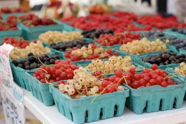 red, black, and white currants at a farmer's market
