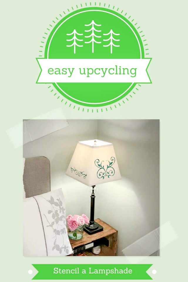 upcycle lampshade with stencils