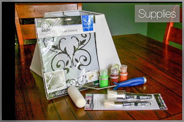 supplies for stenciled lampshade