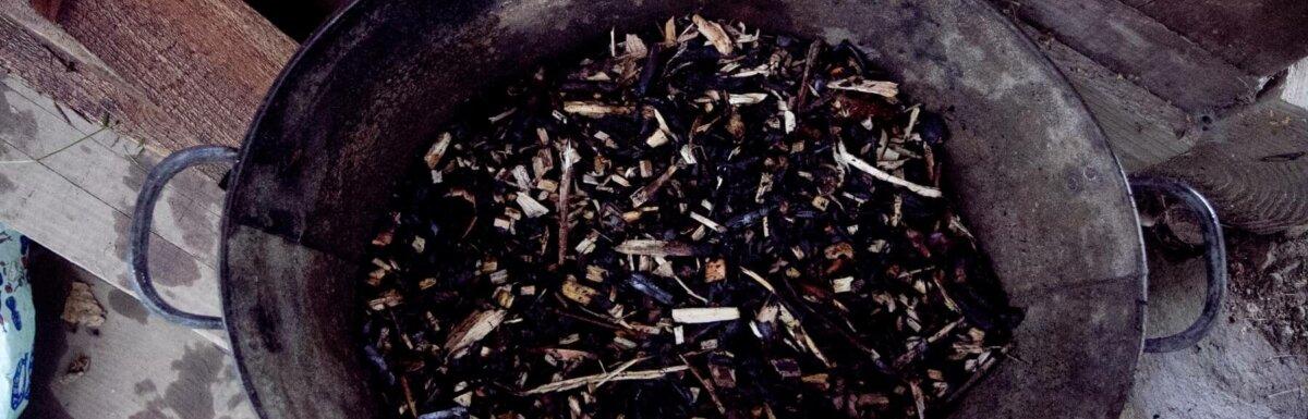 bin full of biochar