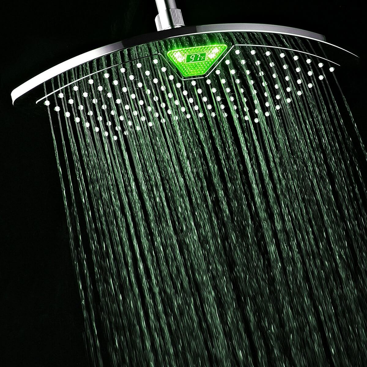 LED Color-Changing Temperature Display Shower Head