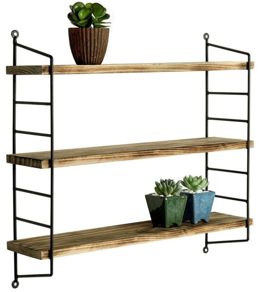 three tier black metal and wood floating shelf