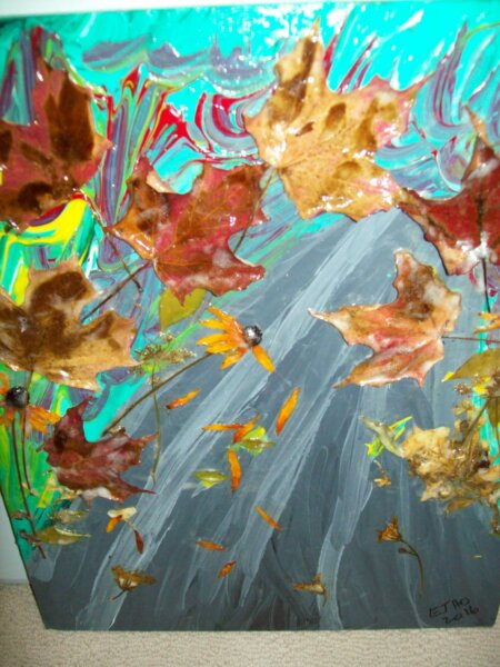 fall leaves painted on canvas