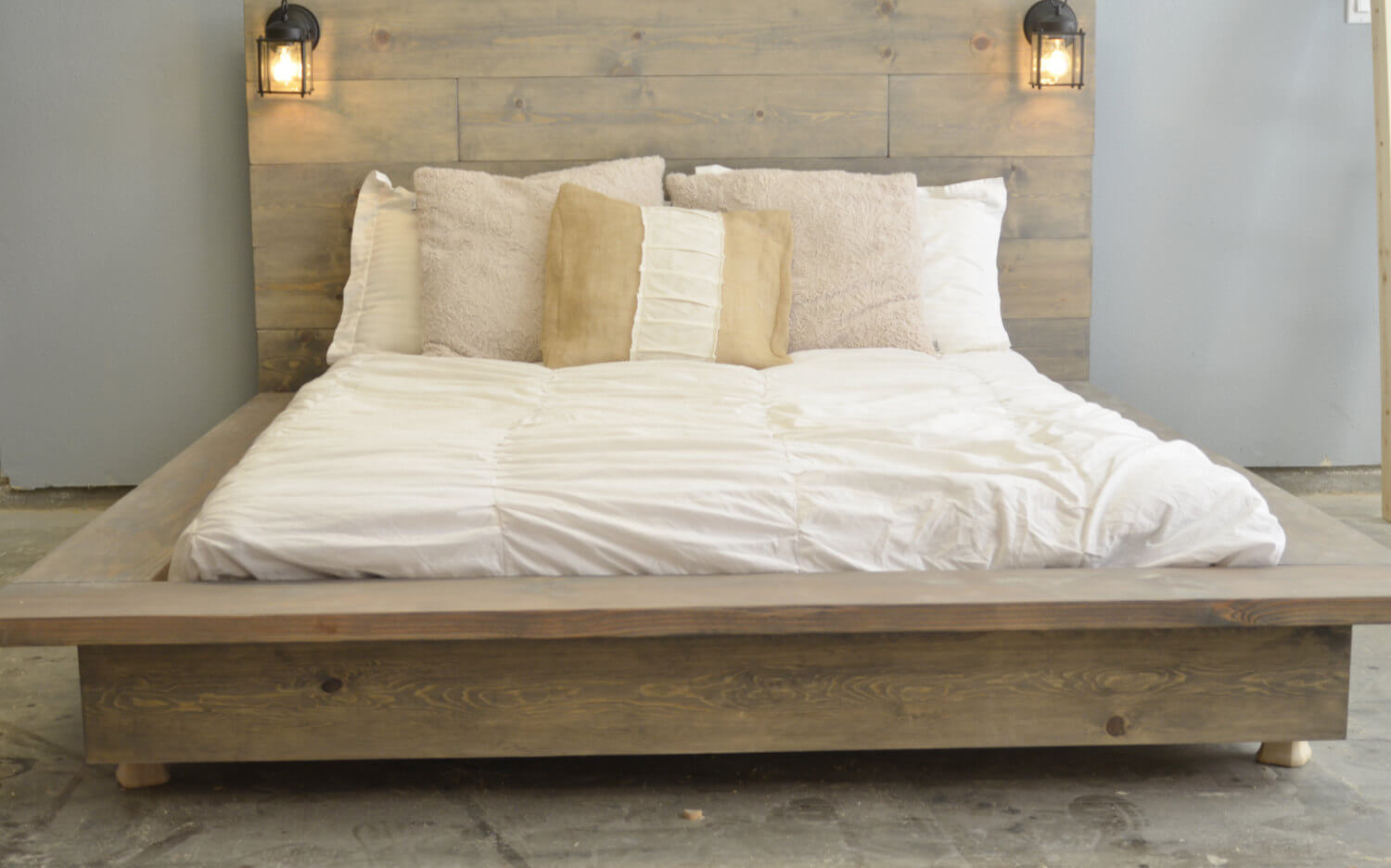 floating wood platform bed