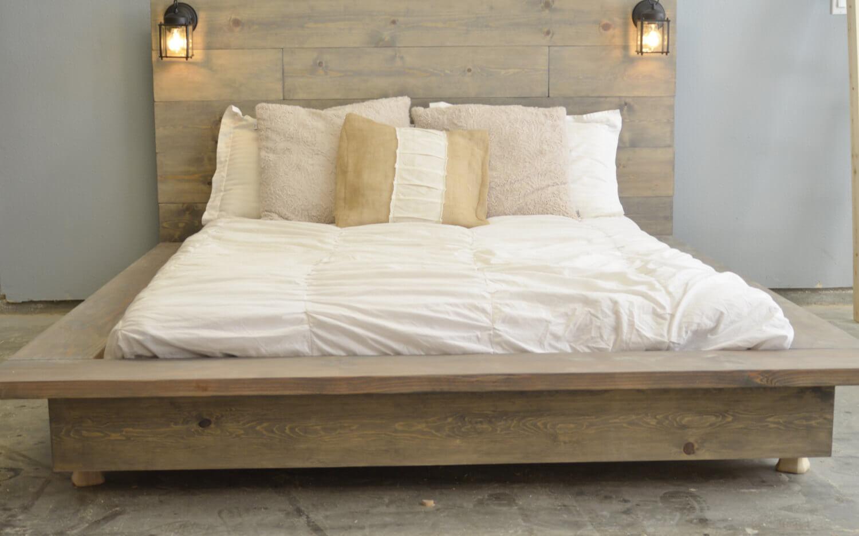 floating wood platform bed