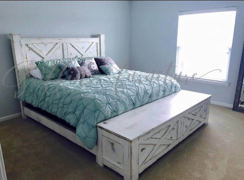 shabby chic bed frame with storage