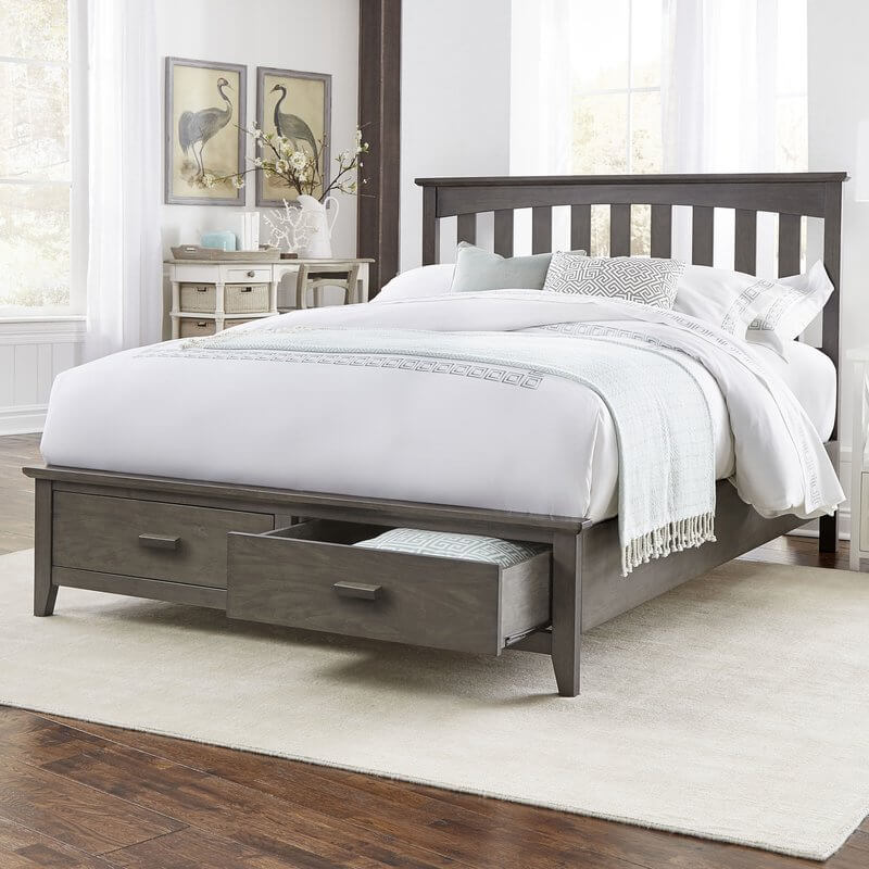 wooden platform bed with storage