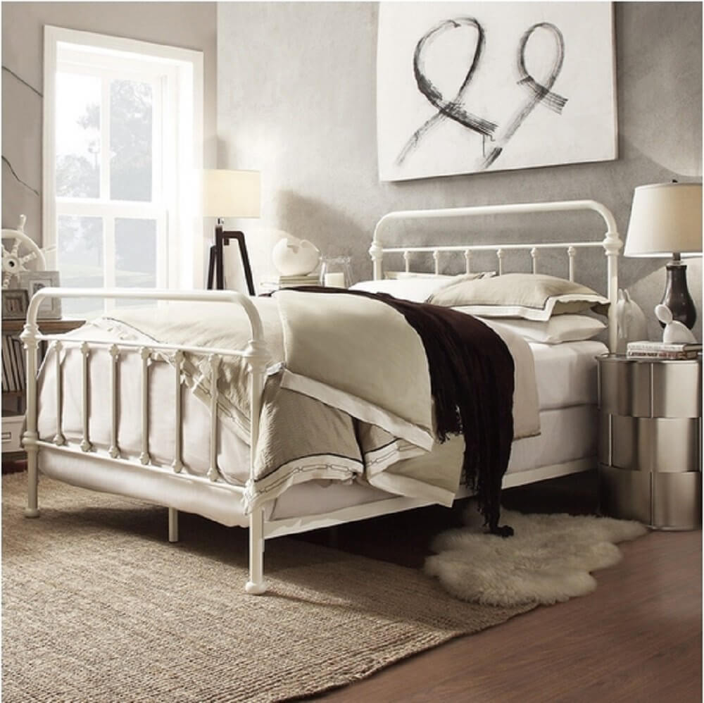Antique White Metal Bed Frame