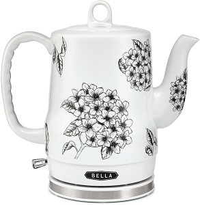white and black floral bella ceramic electric kettle