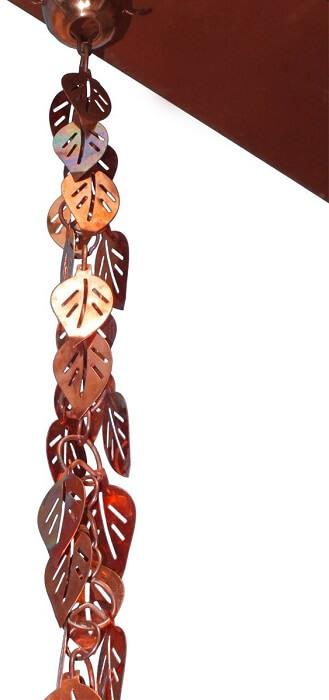 Copper Cascading Leaves Rain Chain