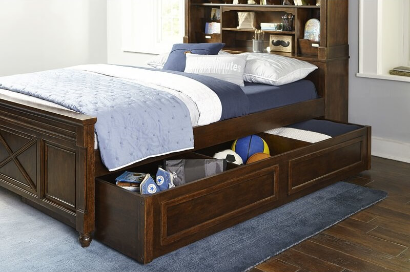 Dark Brown Wooden Bed Frame with Storage