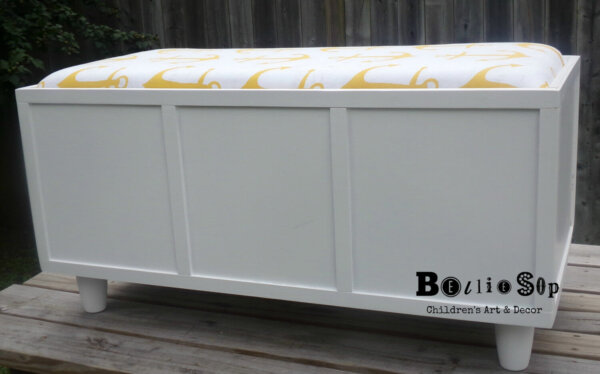 large white storage bench with cushions