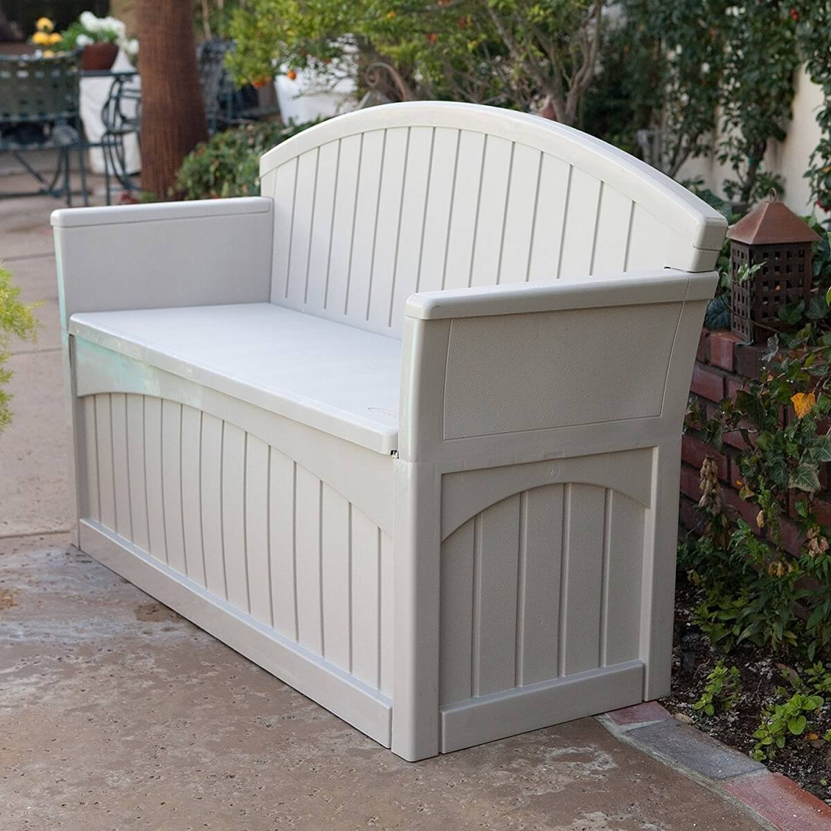 Light Colored Outdoor Storage Bench