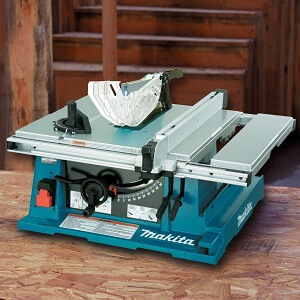 blue matika table saw sitting on table top