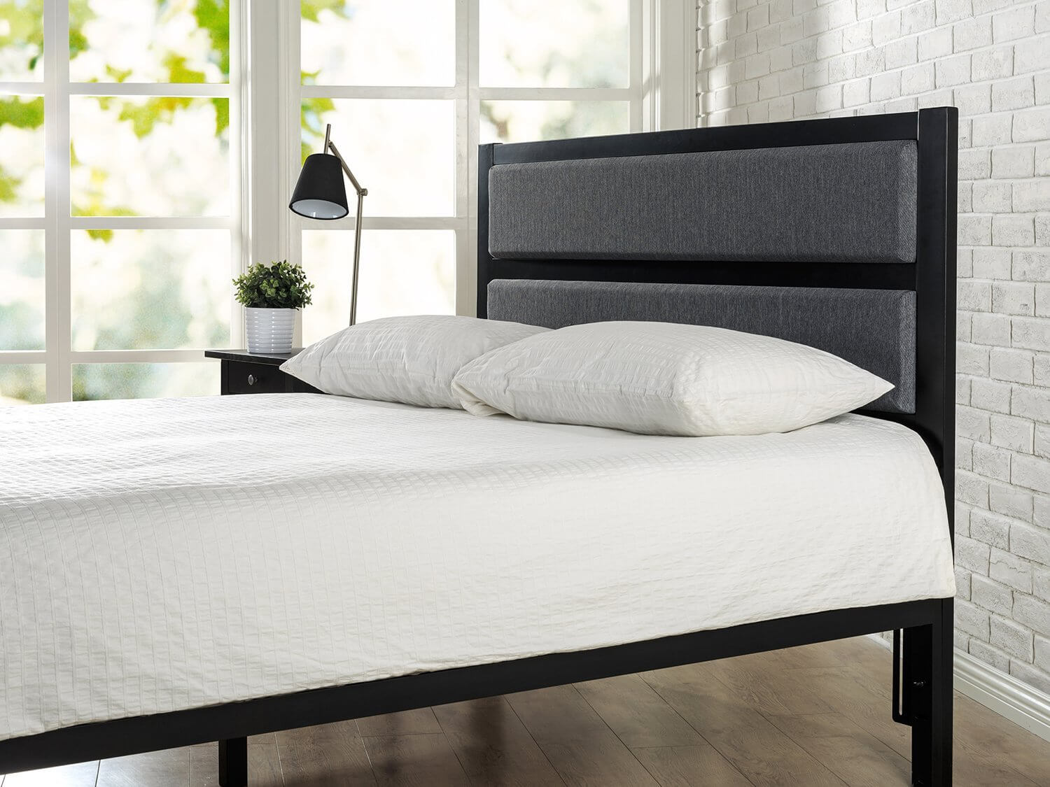Metal and Upholstered Bed Frame