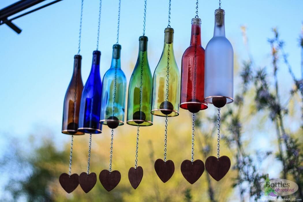 Multi-Colored Wine Bottle Wind Chime