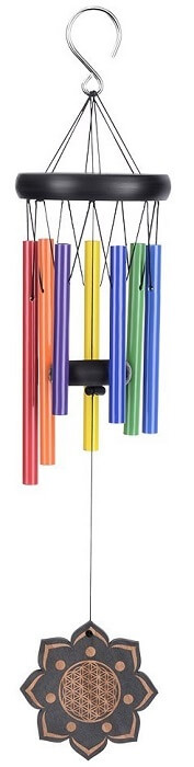 Multi-colored Wood and Aluminum Wind Chimes