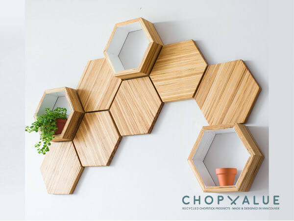 Recycled Chop Sticks Floating Shelf