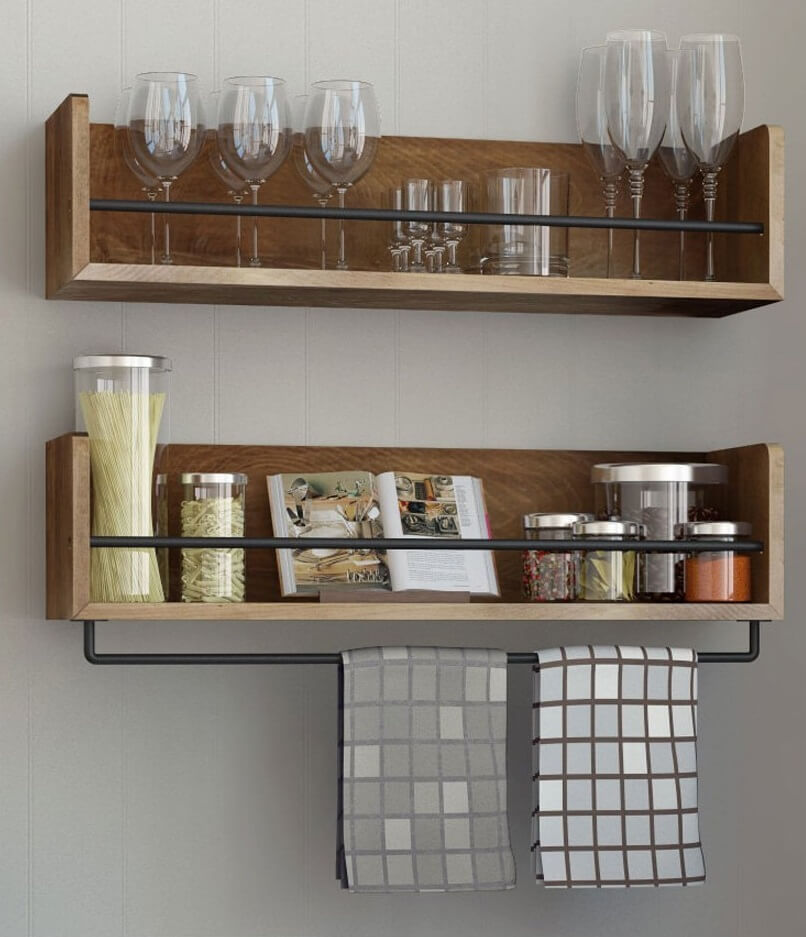 Rustic Kitchen Floating Shelves