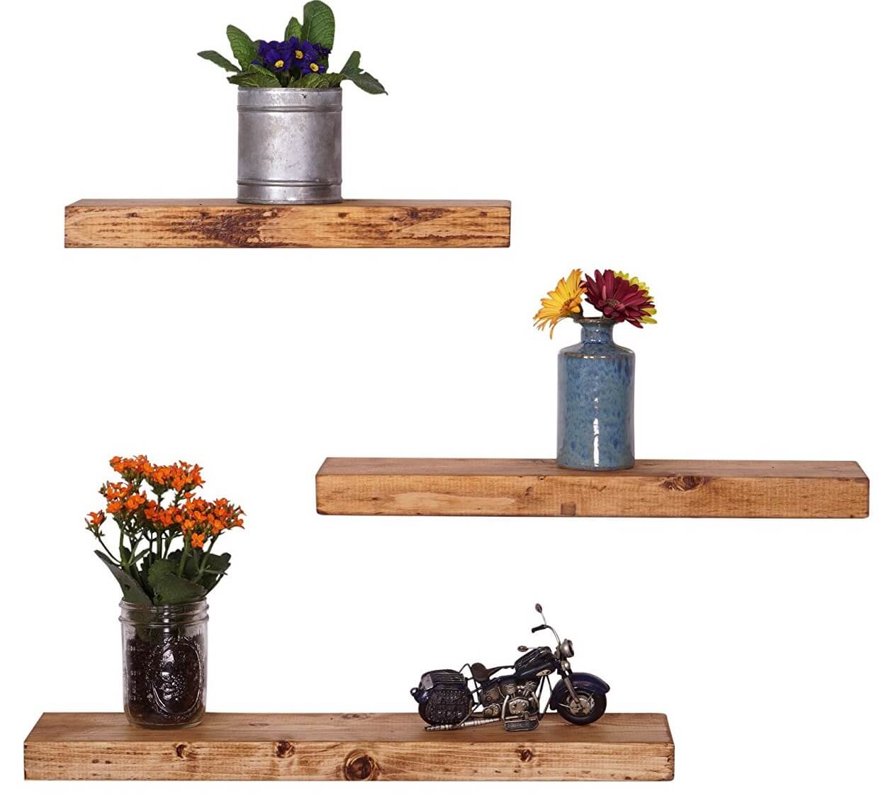 Rustic Pine Wood Floating Shelves